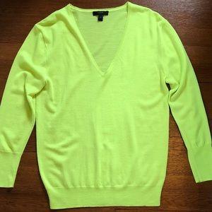 J. Crew Merino Wool Chartreuse Yellow Sweater